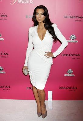 Kim+Kardashian+white+wrap+dress+Hollywood+Style+awards